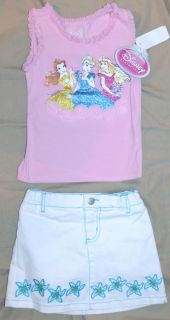 Toddler Girls Disney Princess 2 Piece Top and Scooter Set Size 3T