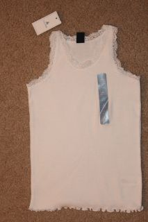 Baby Gap Girls White Lace Trim Rib Tank with Ruffle Bottom Size 4