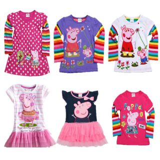 Baby Kids Girl Peppa Pig Tutu Dress Clothing Polka Dot Top T Shirt 6M 6Y 5 Style