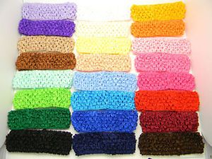 "24 Pcs 1 5"" Crochet Headbands Baby Girl Hair Bow Lot"