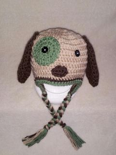 Handmade Crochet Baby Toddler Adult Puppy Dog Hat You Choose Size Photo Prop