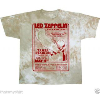 New Authentic LED Zeppelin Tampa Stadium in Concert Tie Dye Tee Shirt