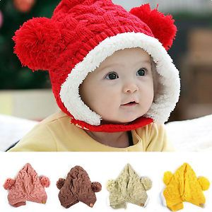 1pcs Cute Kid Baby Dual Balls Girl Boys Knitting Wool Keep Warm Beanie Cap Hat