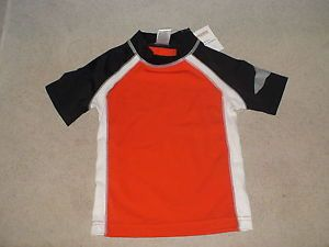 Gymboree Swim Shop Orange Shark Swim Rashguard Bathing Suit Top Shirt