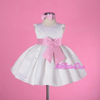 White with Pink Wedding Flower Girls Pageant Party Dress Baby Size 12M 18M 109