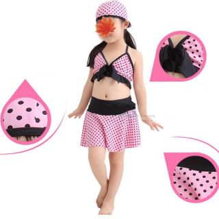 Cute Baby Toddler Girl's Kids Swimwear Bikini Swimsuit Skirt Polka Dot Pink