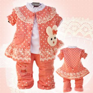 Spring Autumn Baby Girls Clothes 3pcs Set Jacket Blouse Pants Girls Outfits Set