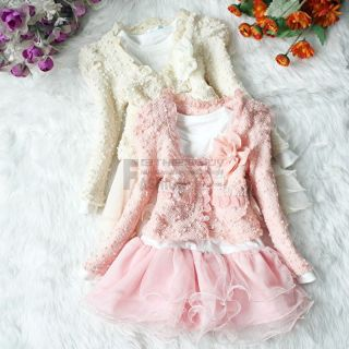 Girls Toddler Outfit Jacket Tutu Pearl Flower Top Dress Party Pageant Clothes