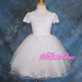 OFFER White Wedding Flower Girl Pageant Party Beaded Dress Size 2T 3T 113