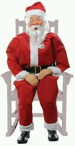 Lifesize Halloween Christmas Rocking Chair Santa Claus Boxed Animated Prop Decor