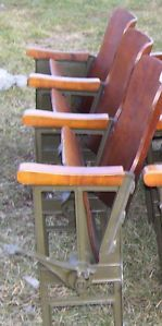 Vintage Cast Iron Theater Seats 3 Chairs Midle Row Architectural Salvage