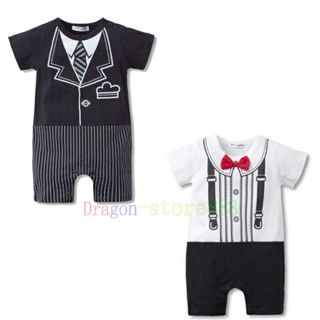 Baby Boy Kid Infant Toddler Romper Outfit Jumpsuit Tuxedo Print Bowtie Onepiece