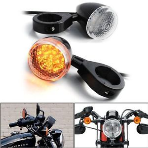 2X LED Turn Signal Light Indicator Front Motorcycle Amber Lamp Harley Black