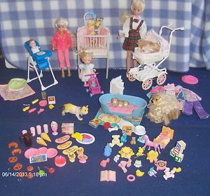 Skipper Stacie Kelly 3 Baby Dolls Pets Baby Furniture Toys Food Clothes More