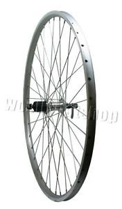 700c Hybrid Bicycle Rear Wheel Silver Double Shimano Hub for 8 9 Speed Cassettes