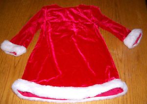 baby girls RED VELVET SANTA CHRISTMAS DRESS white fur trim size 18 mo MINIWEAR