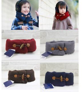 Baby Kid Party Boy Girl Toddler Neck Warmer Wraps Muffler Scarf Wood Button