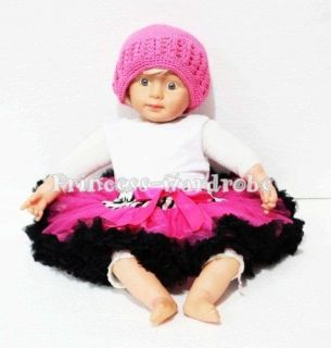 Newborn Baby Zebra Hot Pink Black Pettiskirt Party Skirt Dress Tutu 3 12 Month