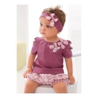 3pcs Kid Baby Girl Headband Top Pants Shorts T Shirt Set Clothes Outfit NO100