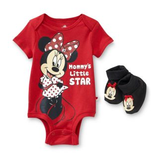 Disney Baby Minnie Mouse Infant Girls Bodysuit Onesie Booties 6 9 Months