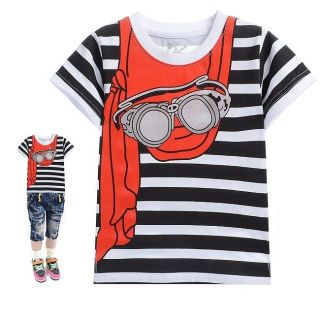 Baby Boys Tops Shirts T Shirts Kids Boys T Shirt Black White Stripe Size 2 8T