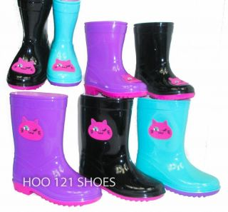 So Cute Girls Kids Kitty Cat Flat Galoshes Wellies Rubber Rain Boots