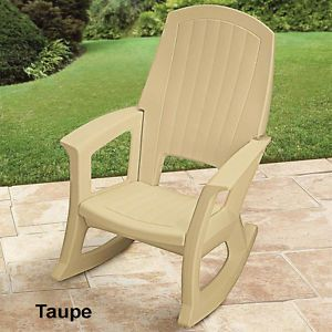 Extra Large Heavy Duty Taupe Plastic Resin Rocking Chair Patio Deck Outdoor