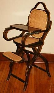 Vtg 40s Cane Back Wooden High Chair Child Baby Kid Bent Wood Mid Century Antique