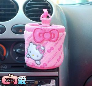 1pc Hello Kitty Auto Car Cup Holder Mobile Phone Pocket Accessories Rose Pink