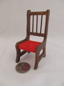 Doll House Furniture Wood Red Dining Table Side Chair Miniature Vtg