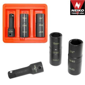"3pc 1 2"" Dr Flip Impact Socket Set Auto Car Rims Tires Lug Nuts Shop Tools"