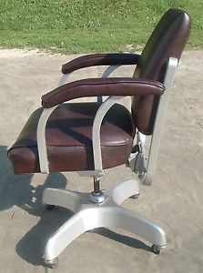 Vintage Art Deco Emeco Aluminum Office Desk Chair Swivels Adjusts Rolls Industri