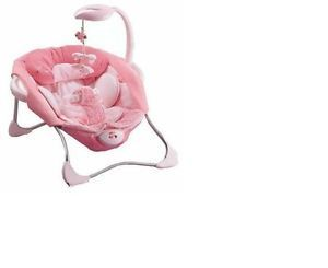 Fisher Price Pink Butterfly Papasan Seat Baby Girl Chair Bouncer Brand New