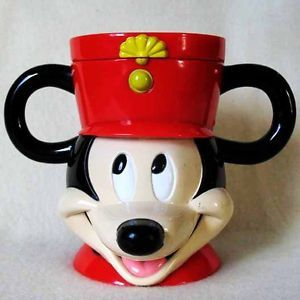 Mickey Mouse Conductor Disney on Ice Collector Plastic Child Mug Cup Flip Lid