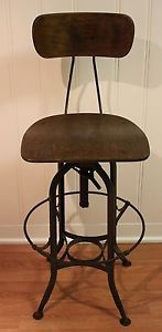 Vintage Original Uhl Toledo Industrial Machine Age Drafting Stool Chair No RSV