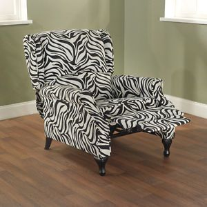 Beautiful Black and White Zebra Animal Print Wing Recliner Chair New