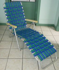 Retro Aluminum Folding Webbed Lawn Chair Chaise Lounge Blue Green Stripes