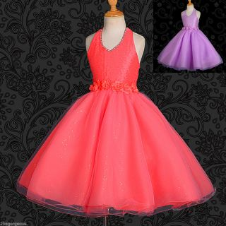 Diamante Halter Flower Girl Formal Dress Wedding Bridesmaid Size 18M 8Y FG191