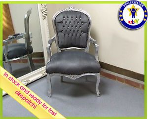 Louis French Shabby Chic Lounge Chair Diamond Stud Grey Fabric Silver Frame