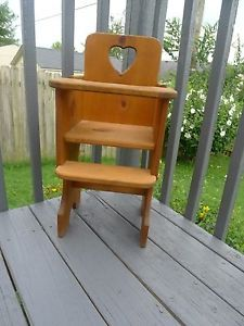 Child's Baby Doll High Chair Seat Wood Wooden 25""