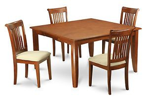 5pc Square Dinette Kitchen Dining Table Set 4 Upholstered Chairs in Brown Finish