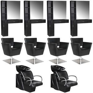 Beauty Salon Equipment Styling Station Chair Shampoo Backwash Unit Package EB 61