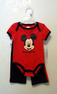 Disney Outfit Boy Mickey Mouse Red Black 0 3 3 6 M Months Shirt Pants