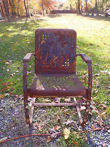 Vintage Metal Patio Garden Lawn Heavy Duty Spring Chair Block Pattern