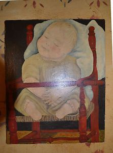 Folk Art Painting Baby in A Red High Chair