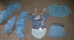 Blue Sequin Dance Jazz Ballroom Ballet Costume Leotard Skirt Dress Child XS S