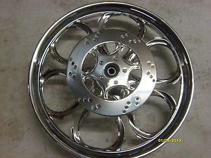 "RC Components Raven 21"" Chrome Front Wheel w Rotor Set Up w Harley Davidson Hub"