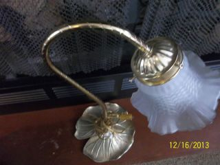 Vintage Lily Pad Gooseneck Desk Table Lamp Brass w Frosted Glass Tulip Shade