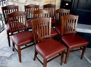 Set of 8 Heavy Duty Restaurant Dining Chairs Wood Brown Vinyl