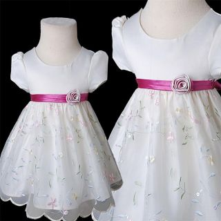 KD367 Baby Child Ivory Christening Baptism Embroidered Sequin Dress 3 12months